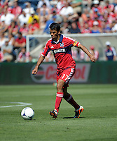 Chicago midfielder Pavel Pardo (17) prepares to kick the ball.  The LA Galaxy defeated the Chicago Fire 2-0 at Toyota Park in Bridgeview, IL on July 8, 2012.