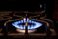 NATURAL GAS FLAME: STOVE BURNER<br /> Burner Is On.