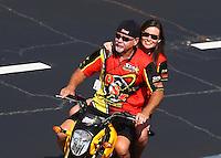 May 14, 2016; Commerce, GA, USA; NHRA pro stock motorcycle team owner George Bryce during qualifying for the Southern Nationals at Atlanta Dragway. Mandatory Credit: Mark J. Rebilas-USA TODAY Sports