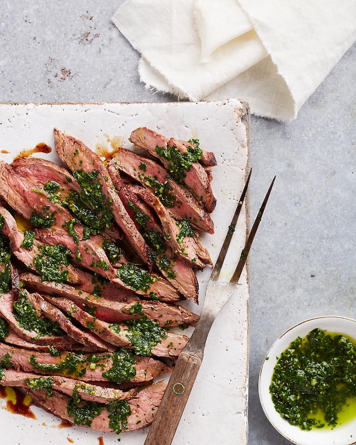 Flank Steak with Pesto Sauce