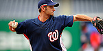 10 July 2008: Washington Nationals' third baseman Kory Casto warms up prior to a game against the Arizona Diamondbacks at Nationals Park in Washington, DC. The Diamondbacks defeated the Nationals 7-5 in 11 innings to take the rubber match of their 3-game series in the Nation's Capitol...Mandatory Photo Credit: Ed Wolfstein Photo