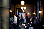 Andrew Tarlow poses for a portrait in Reynards at Wythe Hotel on May 10, 2012 in Brooklyn.   (Photo by Michael Nagle)