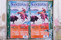 Plaza de Toros de Santona bullfight poster in Cantabria, Northern Spain