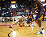 "Ole Miss' Jelan Kendrick (45) loses the ball against LSU's Andre Stringer (10) at the C.M. ""Tad"" Smith Coliseum in Oxford, Miss. on Saturday, February 25, 2012. (AP Photo/Oxford Eagle, Bruce Newman).."