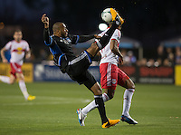 March 10th, 2013: Victor Bernardez bicycle kicks during a game against Red Bulls at Buck Shaw Stadium, Santa Clara, Ca.   Earthquakes defeated Red Bulls 2-1