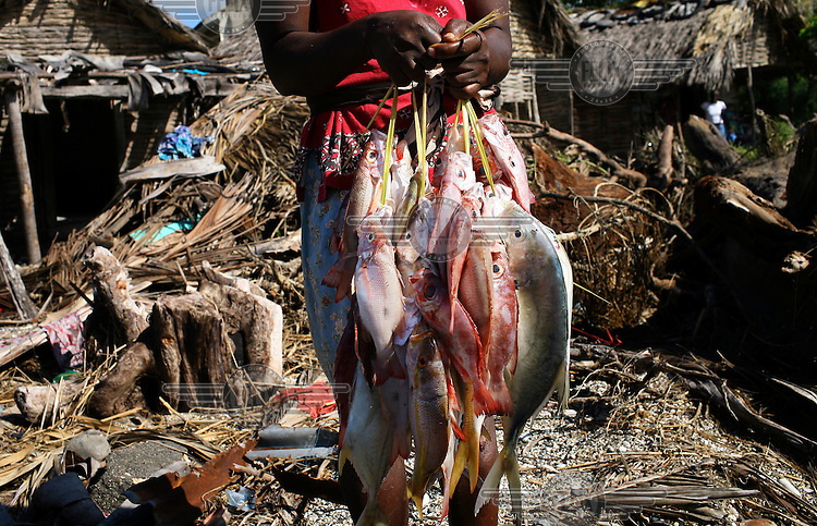 Resiliah Dume 36 is a fish seller in Bainet. She stands in front of houses destroyed by Hurricane Dean, her shop was also destroyed.