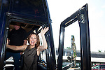 Republican presidential hopeful Michele Bachmann departs a campaign stop at the Story County Fair on Saturday, July 23, 2011 in Nevada, IA.