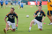 CARSON, CA – August 20, 2011: LA Galaxy midfielder David Beckham (23) and forward Robbie Keane (14) prior to the match between LA Galaxy and San Jose Earthquakes at the Home Depot Center in Carson, California. Final score LA Galaxy 2, San Jose Earthquakes 0.