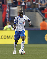 Montreal Impact defender Hassoun Camara (6) brings the ball forward. In a Major League Soccer (MLS) match, Montreal Impact defeated the New England Revolution, 1-0, at Gillette Stadium on August 12, 2012.