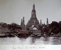 BNPS.co.uk (01202 558833)<br /> Pic: 25BlytheRoad/BNPS<br /> <br /> Wat Chang from the Chao Phraya river in Bangkok.<br /> <br /> Stunning 125 year-old pictures of Thailand which showcase the tropical paradise long before it became a tourist hot-spot have emerged.<br /> <br /> The collection of photographs from the early 1890s include images of the King's birthday celebrations in 1892, the King's palace and the Bangkok architecture.<br /> <br /> Also included in the collection are photographs of Hong Kong under British crown rule in 1895 including of British seamen, the Hong Kong cricket team and the native army.<br /> <br /> The photo album will go under the hammer on January 25 and is tipped to sell for &pound;1,500.<br /> <br /> The owner of the album is believed to have been a member of the Royal Engineers or connected with them.<br /> <br /> The fascinating photos provide a snapshot of Thailand under the rule of King Chulalongkorn.<br /> <br /> He was the first Siamese king to have a full western education, having been taught by British governess Anna Leonowens whose memoirs were transported to the silver screen in the famous film The King and I.