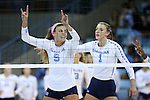 10 September 2015: North Carolina's Paige Neuenfeldt (5) and Taylor Fricano (1). The University of North Carolina Tar Heels hosted the Stanford University Cardinal at Carmichael Arena in Chapel Hill, NC in a 2015 NCAA Division I Women's Volleyball contest. North Carolina won the match 25-17, 27-25, 25-22.