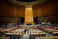 NEW YORK, USA - SEPT 14, People visit the General Assembly Hall at the United Nations Headquarters during preparations for the 71st General Assembly in New York on September 14, 2016. photo by VIEWpress