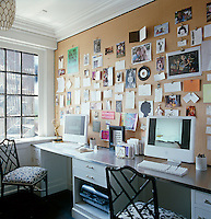 In the study a pinboard made of hessian with an edging of upholstery tacks displays photographs and notes and a pair of latticework Chippendale chairs at the custom-built desk have been re-upholstered in a contemporary blue-and-white Madeline Weinrib fabric