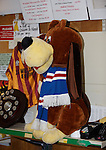 Rangers scarf on the cuddly dog behind the counter on Forres High Street