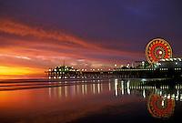 Santa Monica CA Pacific Park Pier Hero Sunset, Ocean, Low Tide, Light Reflecting in Water