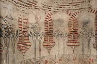 Wall paintings of vases, flowers and arches, Sala de los Jarros (Hall of Jars), Torre de Pedro Mata, (Pedro Mata Tower), Castillo de Coca (Coca Castle), 1473-493 by Alarife Ali Caro, Coca,  Segovia, Castile and Leon, Spain. Commissioned by the Archbishop of Seville and Don Alonso de Fonseca, Lord of Coca and Alaejos, the Mudejar style brick Castle is a combination of Western and Moorish military architecture. Picture by Manuel Cohen