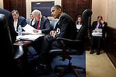 United States President Barack Obama and Vice President Joe Biden meet with members of the national security team regarding Afghanistan and Pakistan, in the Situation Room of the White House, February 8, 2012. .Mandatory Credit: Pete Souza - White House via CNP