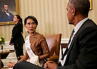 United States President Barack Obama holds a bilateral meeting with State Counsellor Aung San Suu Kyi of Myanmar (Burma) in the Oval Office of the White House on September 14, 2016 in Washington, DC. <br /> Credit: Aude Guerrucci / Pool via CNP /MediaPunch
