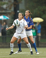 Boston College forward Stephanie McCaffrey (9) traps the ball as Duke University defender Lizzy Raben (6) pressures.Boston College (white) defeated Duke University (blue/white), 4-1, at Newton Campus Field, on October 6, 2013.