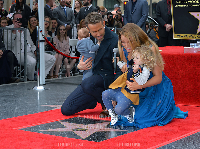 Actor Ryan Reynolds &amp; wife actress Blake Lively &amp; daughters James Reynolds (2) &amp; baby (3 months) at the Hollywood Walk of Fame Star Ceremony honoring actor Ryan Reynolds.<br /> Los Angeles, CA. <br /> December 15, 2016<br /> Picture: Paul Smith/Featureflash/SilverHub 0208 004 5359/ 07711 972644 Editors@silverhubmedia.com