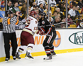 John Gravallese, Cam Atkinson (BC - 13), Drew Daniels (Northeastern - 24) - The Boston College Eagles defeated the Northeastern University Huskies 5-4 in their Hockey East Semi-Final on Friday, March 18, 2011, at TD Garden in Boston, Massachusetts.