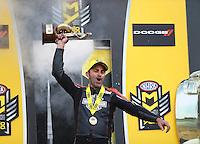 Oct 2, 2016; Mohnton, PA, USA; NHRA pro stock motorcycle rider Eddie Krawiec  celebrates after winning the Dodge Nationals at Maple Grove Raceway. Mandatory Credit: Mark J. Rebilas-USA TODAY Sports