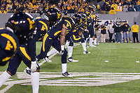 WVU lines up for the second half kickoff. The WVU Mountaineers beat the Pitt Panthers 21-20 at Mountaineer Field in Morgantown, West Virginia on November 25, 2011.