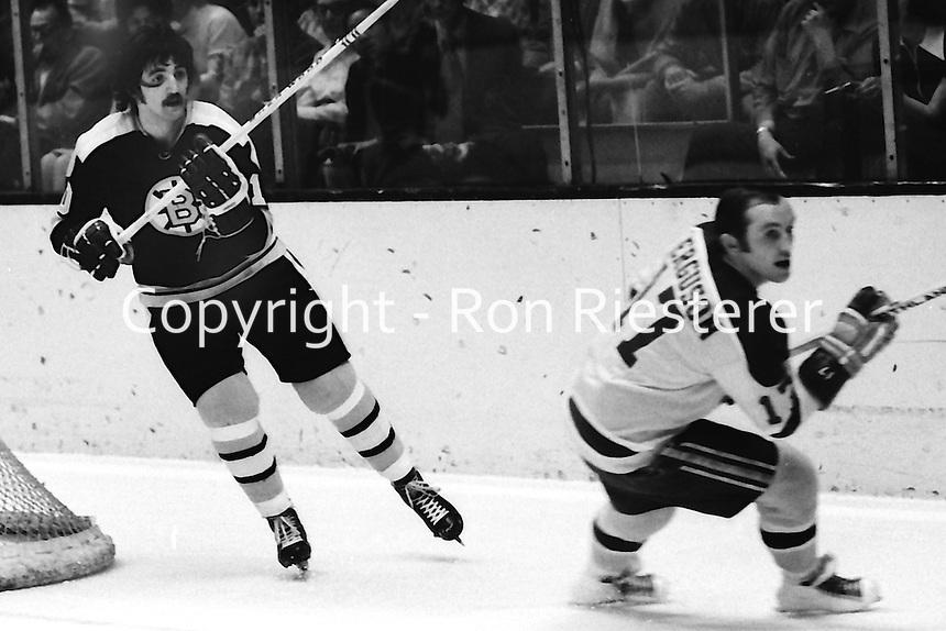 Boston Bruin Carol Vadnais and Seals Norm Ferguson.<br />(1972 photo/Ron Riesterer)