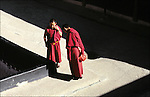 Walk on the roof of the Jokhang, Lhasa - Tibet. The monastery is one of the major symbols of Tibetan Buddhism. Located in the center of the old Lhasa, the temple was built in 647 AD by Songtsen Gampo. Later extended by successive rulers, it has now become a gigantic architectural complex and is the spiritual center of Tibet.
