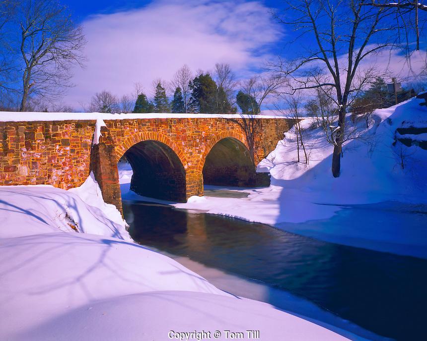 Historic Bridge in Winter, Manassas National Battlefield Park (Bull Run), Site of two Confederate Victories 1861-62, Virginia