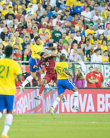 Brazil defender Thiago Silva (3), Portugal forward Nani (17) and Brazil defender Maicon (15) compete for a head ball.  In an International friendly match Brazil defeated Portugal, 3-1, at Gillette Stadium on Sep 10, 2013.