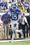 Quarterback Stephen Johnson #15 of the Kentucky Wildcats runs for a touchdown during the second half of the TaxSlayer Bowl against the Georgia Tech Yellow Jackets at EverBank Field on Saturday, December 31, 2016 in Jacksonville, Florida. Photo by Michael Reaves | Staff.