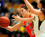 13 December 2009: Oklahoma State University Cowgirls' forward Tegan Cunningham, a Senior from Melbourne, Australia, in action against the University of Vermont Catamounts at Patrick Gymnasium in Burlington, Vermont. The Lady Cats were unable to hold onto a second half lead, falling to the Cowgirls 68-63. Mandatory Credit: Ed Wolfstein Photo