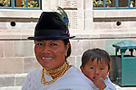 South America, Ecuador, Quito. Local Quechuan mother and baby of Quito.