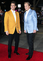 WESTWOOD, LOS ANGELES, CA, USA - NOVEMBER 03: Jim Carrey, Jeff Daniels arrive at the Los Angeles Premiere Of Universal Pictures and Red Granite Pictures' 'Dumb and Dumber To' held at the Regency Village Theatre on November 3, 2014 in Westwood, Los Angeles, California, United States. (Photo by Xavier Collin/Celebrity Monitor)