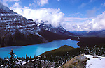 Clearing winter storm over Peyto Lake, Banff National Park, Alberta, Canada.