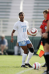 UNC's Ariel Harris prepares to take a throw-in on Sunday, November 6th, 2005 at SAS Stadium in Cary, North Carolina. The University of North Carolina Tarheels defeated the Virginia Cavaliers 4-1 in the Championship Game of the Atlantic Coast Conference Women's Soccer Tournament.