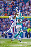14 September 2014: Buffalo Bills free safety Aaron Williams breaks up a 4th down pass to Miami Dolphins wide receiver Brian Hartline in the fourth quarter at Ralph Wilson Stadium at Ralph Wilson Stadium in Orchard Park, NY. The Bills defeated the Dolphins 29-10 to win their home opener and start the season with a 2-0 record. Mandatory Credit: Ed Wolfstein Photo *** RAW (NEF) Image File Available ***
