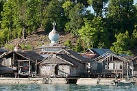 Pulau Batudaka, Togean Islands, Central Sulawesi, Indonesia. The Bajau Sea Gypsies one roamed the seas as nomads. Nowadays they live an empoverished life of fishing and collecting trepang sea cucumbers from their stilted villages. In the 1990's they started cyanide and dynamite fishing causing major damage to the reefs and their future fish stocks. The Togean or Togian Islands are an archipelago of 56 islands and islets, in the Gulf of Tomini, off the coast of Central Sulawesi, in Indonesia. The dark green of the islands and the cristal clear water is a perfect setting and has attracted many travellers during the last years. Travellers endure the long journey in search of the mythical beach paradise. Photo by Frits Meyst/Adventure4ever.com