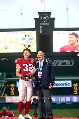 "(L-R) Nanato Nishimura,  Chuck Mills, DECEMBER 13, 2015 - American Football : All Japan American Football college Championship final match ""Koshien Bowl"" between Waseda University ""Big Bears"" 27 - 28 Ritsumeikan University ""Panthers"" at Koshien Stadium in Hyogo, Japan. (Photo by AFLO)"