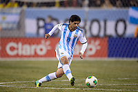 Argentina midfielder Ever Banega (19). Argentina and Ecuador played to a 0-0 tie during an international friendly at MetLife Stadium in East Rutherford, NJ, on November 15, 2013.