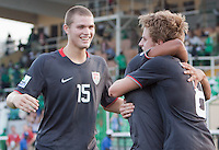 Alex Shinsky celebrates with Eriq Zavaleta. US Men's National Team Under 17 defeated Malawi 1-0 in the second game of the FIFA 2009 Under-17 World Cup at Sani Abacha Stadium in Kano, Nigeria on October 29, 2009.