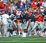 Ole Miss' Charles Sawyer (3) takes a bow following his interception of a Georgia quarterback Aaron Murray (11) pass at Vaught-Hemingway Stadium in Oxford, Miss. on Saturday, September 24, 2011. Georgia won 27-13.