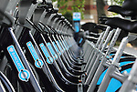 Close-up view of some bikes in the Barclays Cycle Hire scheme in London
