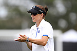 21 August 2011: Duke assistant coach Carla Overbeck. The Duke University Blue Devils defeated the University of South Carolina Gamecocks 2-0 at Koskinen Stadium in Durham, North Carolina in an NCAA Women's Soccer game.