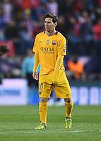 FUSSBALL CHAMPIONS LEAGUE  SAISON 2015/2016 VIERTELFINAL RUECKSPIEL Atletico Madrid - FC Barcelona       13.04.2016 Enttaeuschung Barca; Lionel Messi, das ging in die Hose