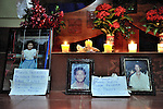 Photos of lost loved ones adorn the front of the altar during an October 29, 2008, Catholic mass in the village of Santa Maria Manicera. The memorial mass was held on the eve of the tenth anniversary of Hurricane Mitch, which on October 30, 1998, devastated the area, causing a mudslide on the slopes of Nicaragua's Casita Volcano that swept through two villages below, killing more than 2,000 people. Many of the survivors were resettled in Santa Maria Manicera. A ceremony to remember the dead was held on the slopes of the mountain on the anniversary of the tragedy.
