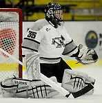 1 December 2007: Providence College Friars' goaltender Tyler Sims, a Senior from Fort Wayne, IN, warms up prior to facing the University of Vermont Catamounts at Gutterson Fieldhouse in Burlington, Vermont. Sims earned his second shutout of the season and the 6th of his career, as the Friars defeated the Catamounts 4-0 in front of a capacity crowd of 4003, for the 64th consecutive sell-out at Gutterson...Mandatory Photo Credit: Ed Wolfstein Photo