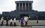 On any Sunday, crowds of workers, peasants and tourists from other provences stand in line for hours to give devotion and thanks to leader Ho in Hanoi, North Vietnam.  (Jim Bryant Photo).....