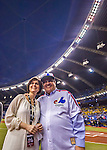 2 April 2016: Montreal Mayor Denis Coderre and his wife Chantale Renaud enjoy the pre-game festivities prior to an exhibition game between the Toronto Blue Jays and the Boston Red Sox at Olympic Stadium in Montreal, Quebec, Canada. The Red Sox defeated the Blue Jays 7-4 in the second of two MLB weekend games, which saw a two-game series attendance of 106,102 at the former home on the Montreal Expos. Mandatory Credit: Ed Wolfstein Photo *** RAW (NEF) Image File Available ***